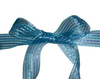 """Blue with Strips Ribbon... 1.5"""" X 10 yards"""