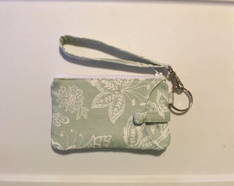 Hand Made Wristlet With ID/ iPhone 6s & 7 Wallet In Mint Floral Thick Duck Fabric