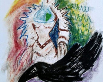 Original Modern Art Dancing Queen with Crow Oil Pastel Colorful Canadian Art