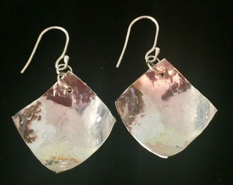 Hammered silver Argentium square earrings
