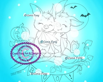 Digital Stamp, Digi Stamp, digistamp, Bats Friends by Conie Fong, Halloween, Bat, children, coloring page