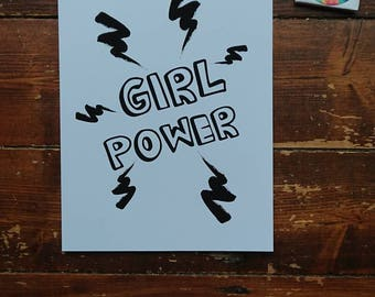 Framed Print//A4//Girl Power//Monochrome//Black & White//Print//Personalise//Superhero//Nursery//kids room decor//Mothers Day//Birthday