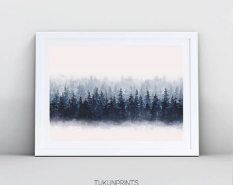 Forest print, Pink Blue Abstract Art, Blue Pink Watercolor Print, Watercolor Printable Art, Abstract Watercolor Print, Abstract Printable