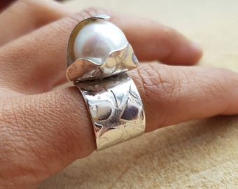 Pearl Ring Sterling Silver June Birthstone Freshwater Pearl Ring