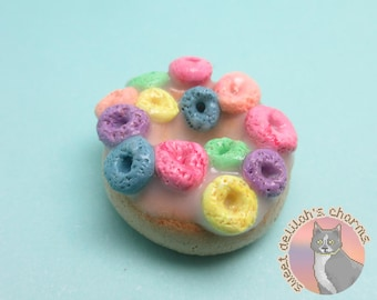Fruit Loops Donut Charm - Choose your attachment! polymer clay charms, jewelry, keychain, necklace, phone strap, dust plug, key ring