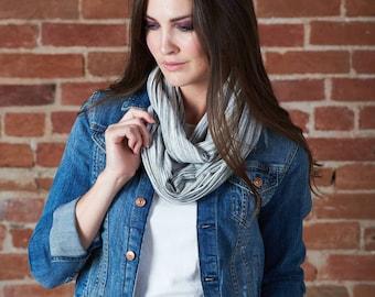 Infinty scarf - navy, black or ivory chalk line