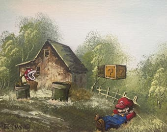 Super Mario Brothers Mario Piranha Flowers Parody Painting - Print Poster Canvas - Funny Mario Bros Video Game Room Fan Gift - Altered Art