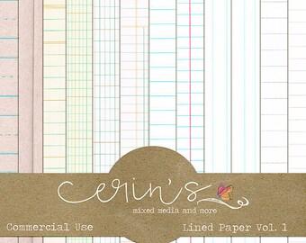 Digital Lined Paper~Digital Notebook Paper~Digital School Paper~Ledger Paper~Commercial Use Texture~Digital Scrapbooking~High Quality CU
