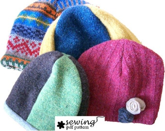 INSTANT DOWNLOAD - Upcycled Hat PDF Pattern (2 or 4 panel design) baby to adult sizes