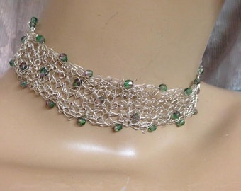 Crochet Knitted choker fine silver and glass beads in green and purple necklace handmade
