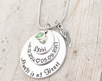 Loss of a Child - Memorial Gift for Mom - Remembrance Jewelry - Sympathy Necklace Gift - Bereavement Gift - Always in my Heart Necklace