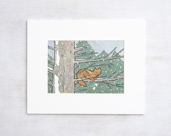 Pine Marten Animal Art Print, 5x7 Snowy nature illustration