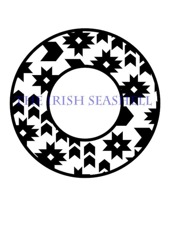 aztec 2 monogram circle frame svg dxf design
