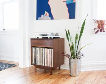 Mid Century  Small Record Cabinet  // Record Player stand // 75+ records