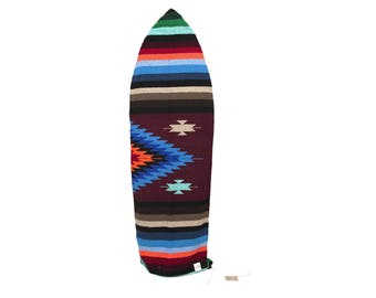 Surfboard Bag: Upcycled Mexican Blanket Maroon Striped Diamond SURFBOARD SOCK