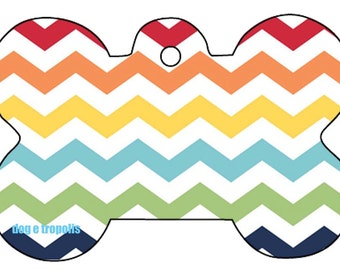 Rainbow Chevron Wave Custom Pet ID Tag Identification Dog Cat Tags Picture Photo withe Key Ring