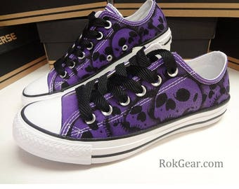 Converse All Star skull shoes oxfords Womens unique painted skulls by RokGear