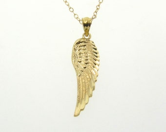 Gold Angel Wing Necklace, 14k GOLD Wing Necklace, Protective Guardian Angel - Yellow Gold