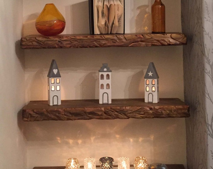 Bespoke Country Cottage Reclaimed Wood Wall Mounted Floating Shelf Medium Oak Stain & Rustic Decorative Carving on Sides Fixings Supplied
