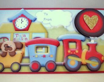 Handmade Money ,Gift Card Wallet ,Child,Train, Birthday, Personalise