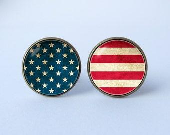 United States flag cufflinks American flag cuff links US flag cufflinks Patriotic cufflinks American jewelry USA flag cufflinks Memorial Day