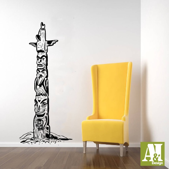 Native American Indian Totem Pole Wall Vinyl Decal Sticker