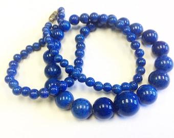 Vintage, Art Deco, Czech, Lapis Lazuli peking glass bead necklace.