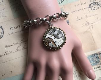 Jewerly, Steampunk Bracelet, Charm Bracelet, Jewelry, Watch Movement, Steampunk, Womens Bracelet, Gears, Gift Ideas