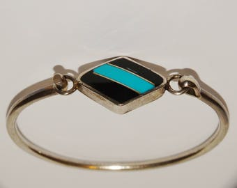 Sterling Silver Inlaid Onyx & Turquoise Cuff Bracelet.