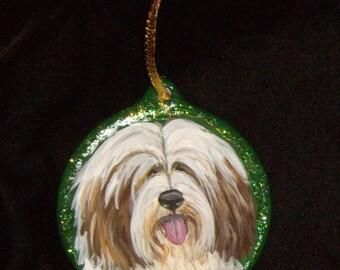 Tibetan Terrier Dog Custom Hand Painted Christmas Ornament Decoration