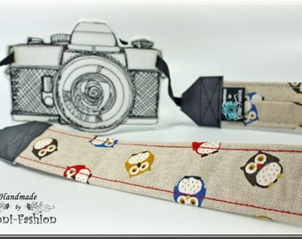 Camera strap - OWL - camerastrap, light brown, vintag, photography DSLR