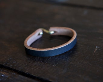 Painted Black Leather Cuff *Scuffs to brown to pair with Red Wing Klondike Leather*