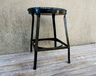 Vintage Industrial Angle Steel Stool Co. Shop Factory Stool