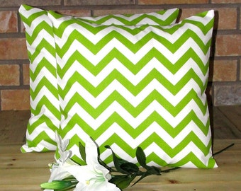 New SET Of TWO Chevron Green/Natural decorative pillow covers 18 X 18 inch