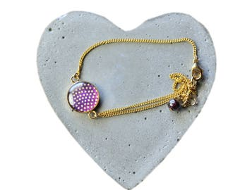Summer trend, Cabochon bracelet, Purple Cabochon, Dotted cabochon, Modern motif, stylish and elegant, japanese paper, for all occasion