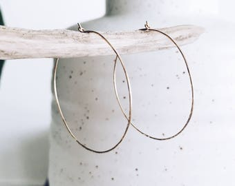 14k Gold Filled Hammered Hoop Earrings