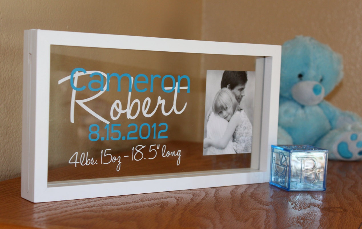 Custom personalized baby name and stats frame zoom negle Images