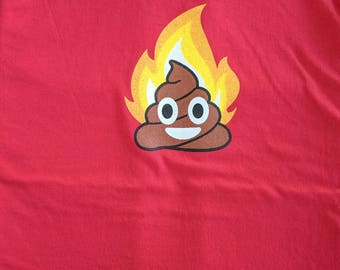 emoticon - poop fire (men) ribbed crew neck t-shirts