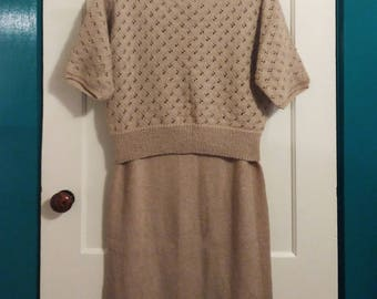 Vintage Taupe Two Piece Handmade Knit Dress, 1970's