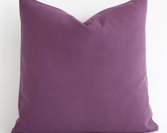 Purple Cotton Pillow Cover Solid Purple Pillow Throw Pillow Modern Purple Pillow Minimalist Decor Sofa Couch Pillows