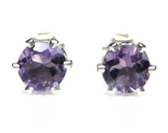 Amethyst Earrings Silver Amethyst Stud Earrings February Birthstone Amethyst Post Earrings Sterling Silver Round Purple Amethyst Jewelry Feb