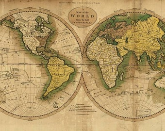 View world maps by mapsandposters on etsy antique world maps old world map illustration digital image ancient maps world 1795 gumiabroncs Image collections