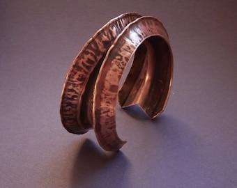 Foldform cuff, unique hand made bracelet, ooak anticlastic jewelry, womens copper bracelet, sculptural, men bracelet, Waldorf Jewelry