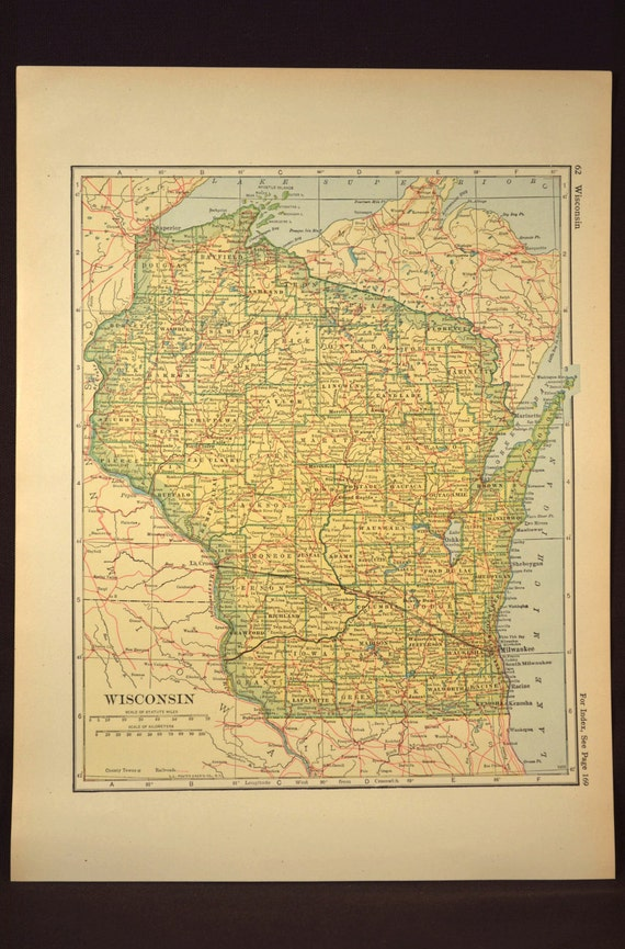 Wisconsin map wisconsin railroad vintage original 1920s gumiabroncs Images