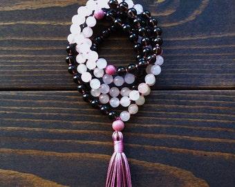 108 Mala Beads, Smoky Quartz, Rose Quartz Mala Necklace, Japa Mala, Yoga Jewelry, Spiritual Jewelry, Healing, Love, Stress Relief, Detox
