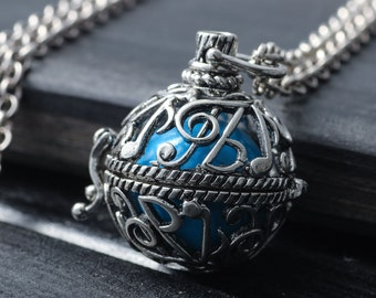 Antique Silver Necklace Everyday Note Jewelry Musical Necklace Glow In Dark Necklace Chime Ball Necklace Locket Pregnancy Jewelry Wife Gift