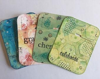 Small tuck-it pockets, good vibe theme, set of 4; for art journal, travel journal, junk journal, smash journal, planner, collage