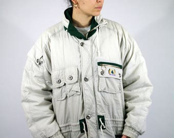 Vintage 80s 90s New Zealand Long Coat Jacket Winter Warm White Cream Padding Men Mens Womens XL XXL