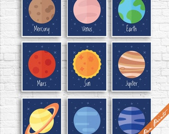 Our Solar System - Set of 9 Art Prints (Unframed) (Featured on Navy) Galaxy Planets and Outer Space Prints