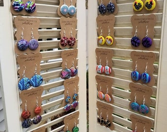 Fabric Covered Button Dangle Earrings